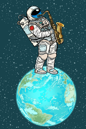 Astronaut plays saxophone on planet earth in pop art retro illustration comic cartoon drawing.