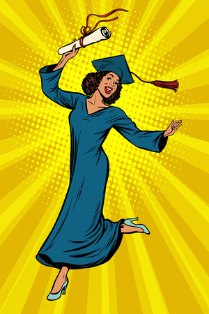 Graduado de la Universidad de la universidad de la mujer africana en dibujo de la historieta cómica del ejemplo retro del arte pop