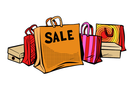 Bags sale, season discount isolate on white background in pop art retro illustration comic cartoon drawing.