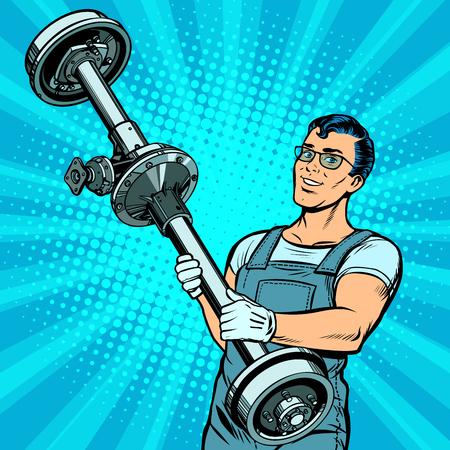 male car mechanic and rear axle vehicle. Pop art retro vector illustration comic cartoon kitsch drawing