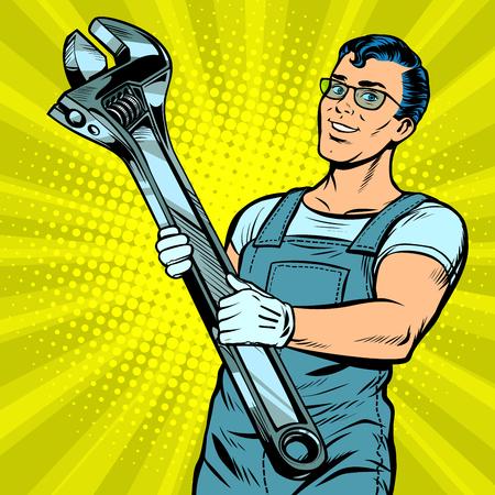 Man repairman with a wrench. Pop art retro vector illustration comic cartoon kitsch drawing Stock Photo