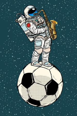 Astronaut plays saxophone on a football soccer ball. Pop art retro vector illustration comic cartoon kitsch drawing