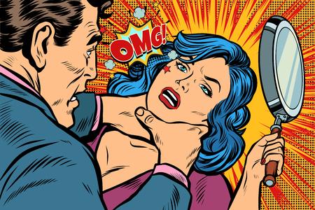 Mujer lucha contra el estrangulador. Dibujo kitsch de ilustración vectorial retro pop art.