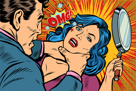 Woman fights off the strangler. Pop art retro vector illustration kitsch drawing. Çizim