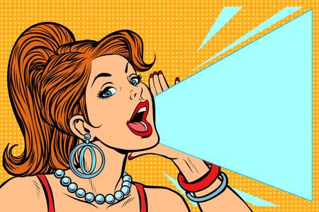 Kobieta ogłasza rabat. Pani krzyczy na protesty. Pop-artu retro ilustracji wektorowych komiks kreskówka kicz vintage rysunek.