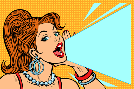 Woman announcing discount. Lady shouts protests. Pop art retro vector illustration comic cartoon kitsch vintage drawing. Çizim
