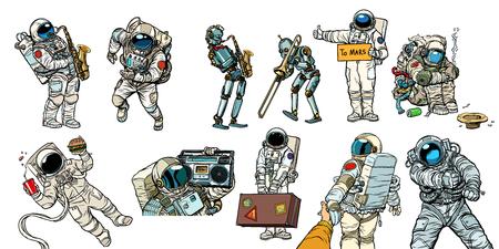 Set collection astronauts and robots. Comic book cartoon pop art retro vector illustration.