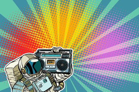 Astronaut with Boombox, audio and music. Pop art retro vector illustration comic cartoon vintage kitsch drawing. Иллюстрация