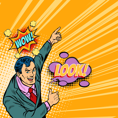 Wow look businessman pop art. Retro vector illustration cartoon comics kitsch drawing.