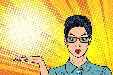 Gesto de presentación de mujer sorprendida. Dibujo kitsch de cómics de dibujos animados de ilustración de vector retro pop art.