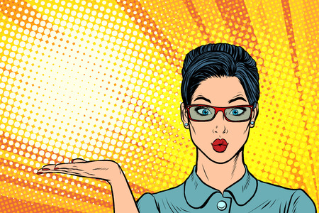 Surprised woman presentation gesture. Pop art retro vector illustration cartoon comics kitsch drawing.