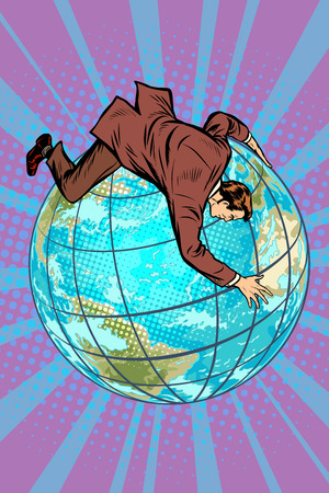 Businessman falls off the planet, holds onto it. Pop art retro vector illustration comic cartoon kitsch vintage drawing.