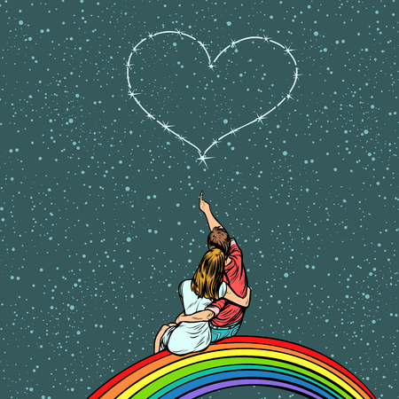 Couple in love looks at the heart and sits on a rainbow. Pop art retro vector illustration kitsch drawing.