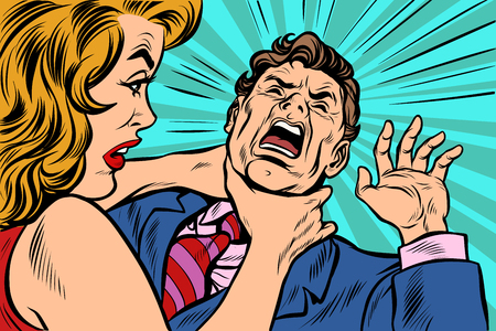 Woman strangling man. Female power. Pop art retro vector illustration cartoon comics kitsch drawing.