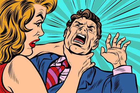 Frau erwürgt Mann. Weibliche Macht. Pop-Art-Retro-Vektorillustrations-Cartoon-Comic-Kitschzeichnung. Vektorgrafik