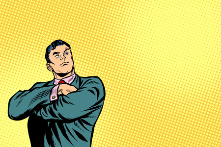 businessman leader stands with folded hands. Pop art retro vector illustration cartoon comics kitsch drawing