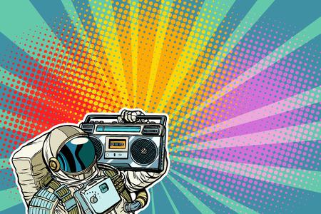 Astronaute avec Boombox, audio et musique. Pop art rétro illustration vectorielle bande dessinée dessin kitsch vintage Banque d'images - 100967171