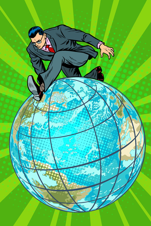 businessman walking on the planet. Pop art retro vector illustration comic cartoon kitsch vintage drawing