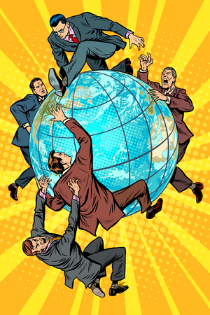 Men of politics are fighting on planet Earth. Pop art retro vector illustration comic cartoon kitsch vintage drawing