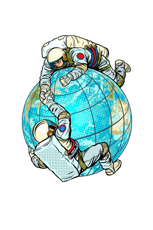 Two astronauts on the planet Earth help each other. Pop art retro vector illustration comic cartoon kitsch vintage drawing Stock Photo