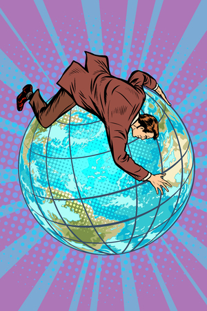 businessman falls off the planet, holds onto it. Pop art retro vector illustration comic cartoon kitsch vintage drawing 스톡 콘텐츠