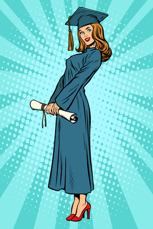 Woman College or University graduate posing. Pop art retro vector illustration comic cartoon kitsch vintage drawing