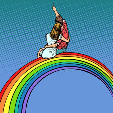 Love men and women, couple on the rainbow. Pop art retro comics cartoon vector illustration kitsch drawing Çizim