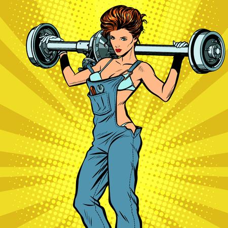 sexy female car mechanic and rear axle vehicle. Pop art retro vector illustration comic cartoon kitsch drawing Illustration