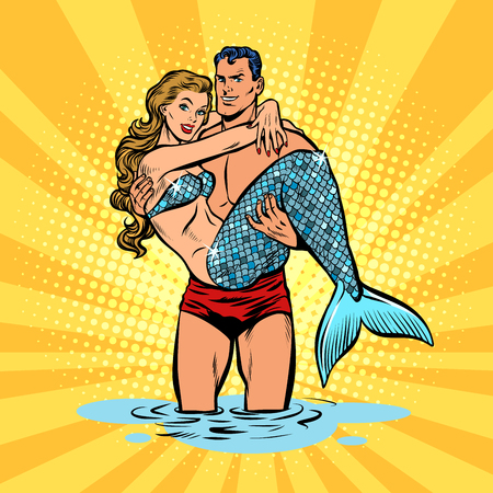 Couple in love. Mermaid and handsome male swimmer. Pop art retro vector illustration comic cartoon kitsch drawing Çizim