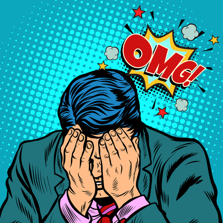 OMG shame businessman. Pop art retro vector illustration cartoon comics kitsch drawing Çizim