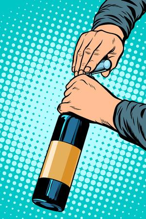 opens a bottle of wine