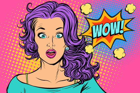 wow Surprised woman Illustration
