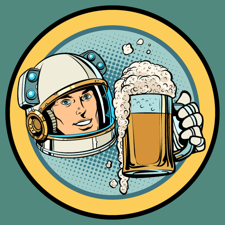 Astronaut with a mug of beer