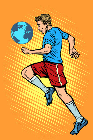 World championship. football player with planet Earth like a soc Ilustracja