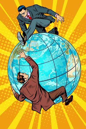 Twee mensen die vechten op de planeet aarde