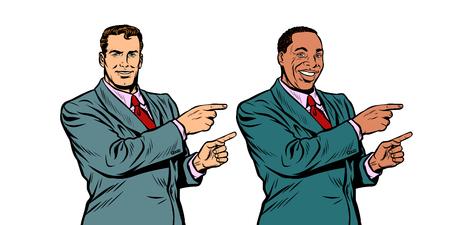 white and black businessman pointing finger sideways Illusztráció