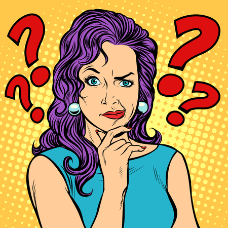 woman skeptical facial expressions face Illustration