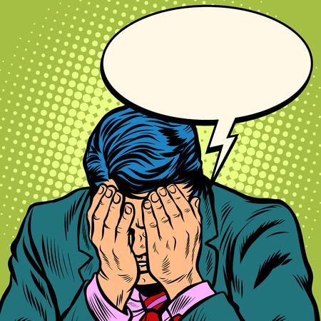 Man businessman asks for forgiveness Illustration