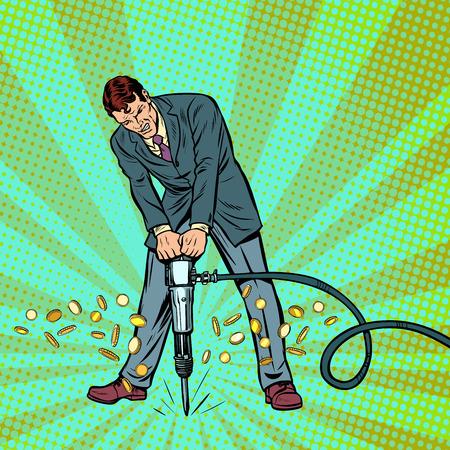 hombre de negocios, martillo neumático, oro, dinero, monedas