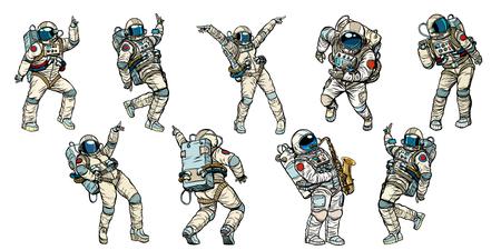 Conjunto de colección de astronautas bailando.