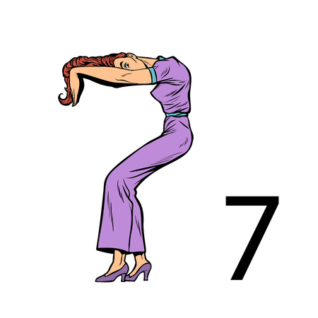 number seven 7. Business people silhouette alphabet