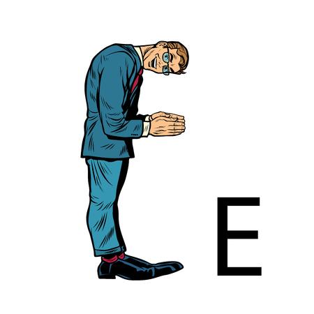 letter E ees. Business people silhouette alphabet Çizim