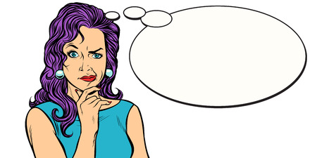 Frau skeptische Person imitiert Comic-Ballon
