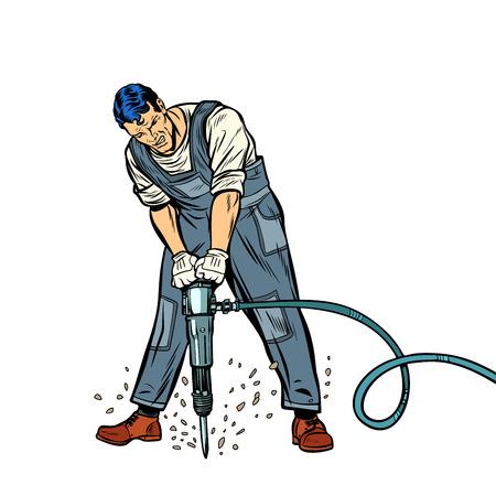 Working man with jackhammer Illustration