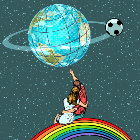 fans watch the football championship Иллюстрация