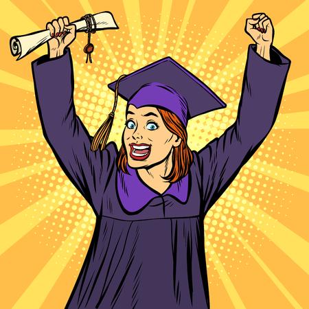 joyful woman graduate victorious gesture hands up