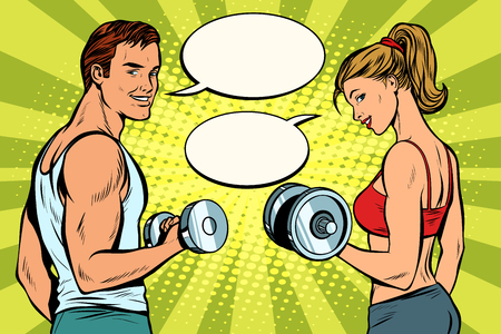 Man and woman in the gym with dumbbells Çizim