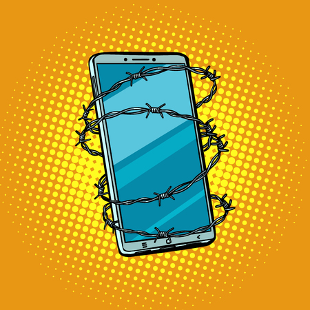 Barbed wire and telephone. concept of freedom online Internet ce