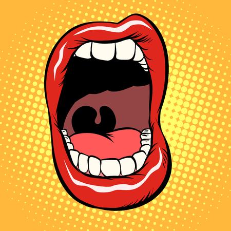 offener Mund mit isolierten Zähnen auf weißem Hintergrund