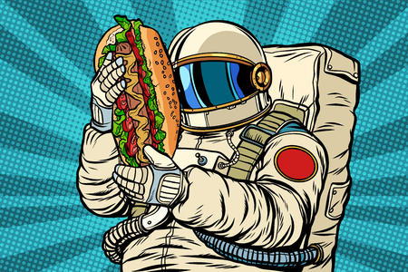 astronaut with a hot dog, street fast food Stock Illustratie
